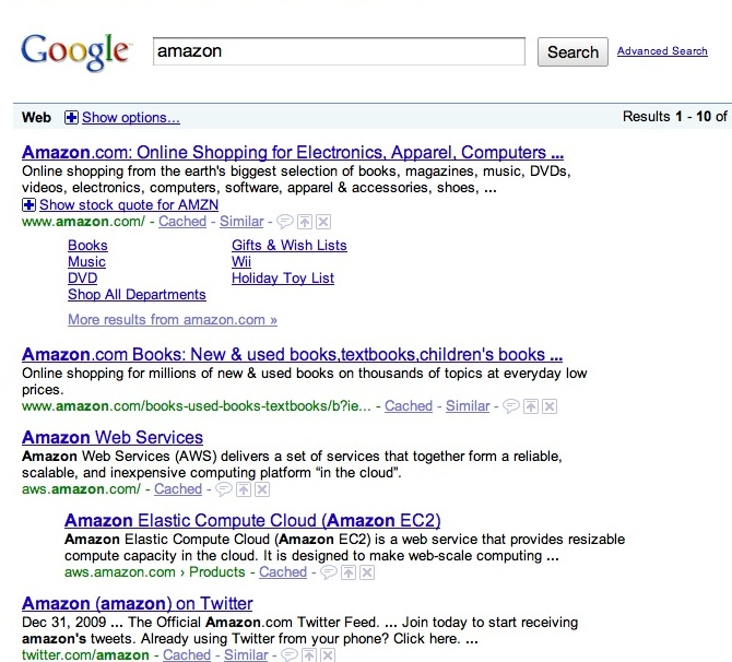 Google Search for Amazon smal