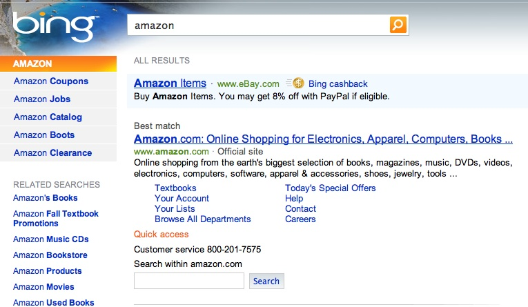 bing search amazon small