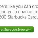 Win A $2,500 Starbucks Gift Card!