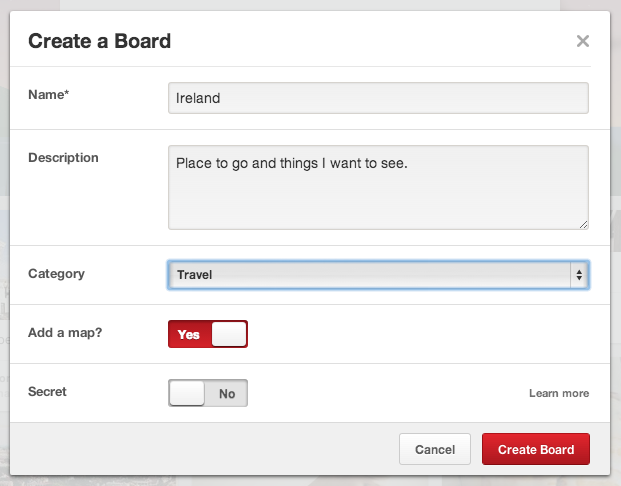 Pinterest add new board with map