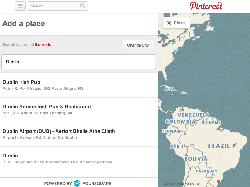 Pinterest map search of Dublin on Foursquare