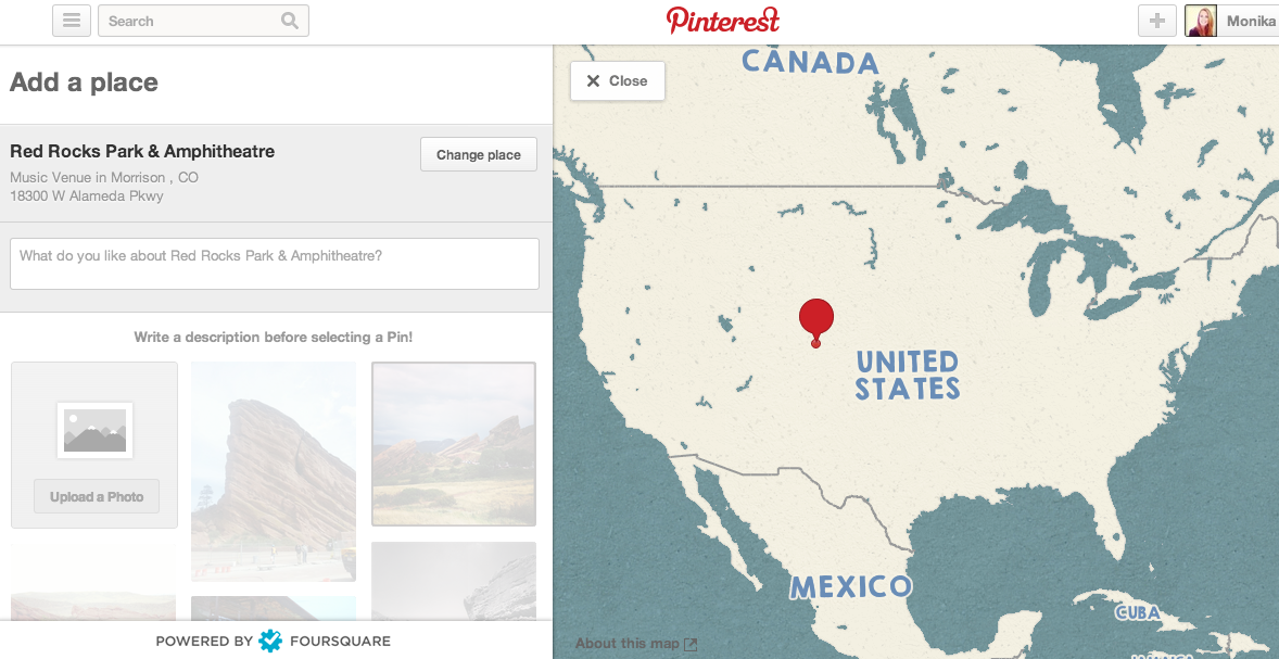 Pinterest add map to board of Concert Venues in Colorado - Red Rocks edition