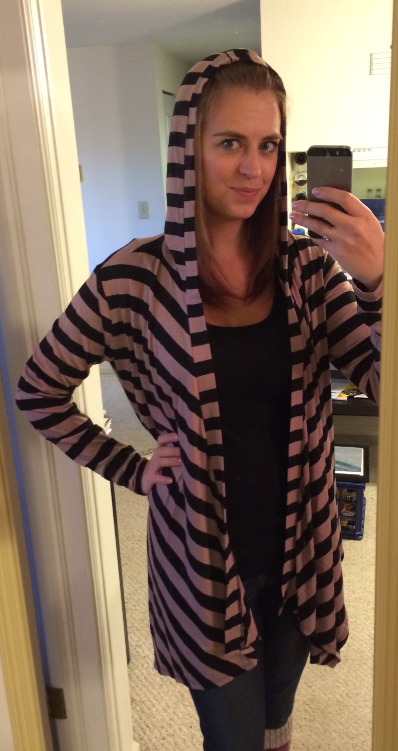 Loveappealla Brownson Striped Hooded Open Cardigan Hood Up - Stitch Fix