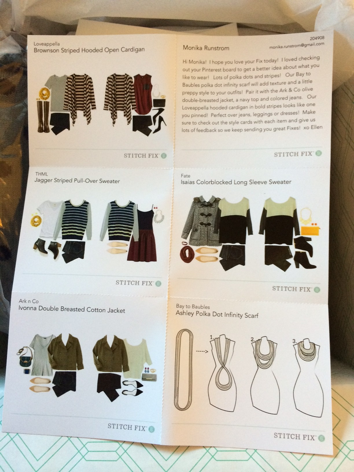 Stitch Fix New Letter Showing Clothes