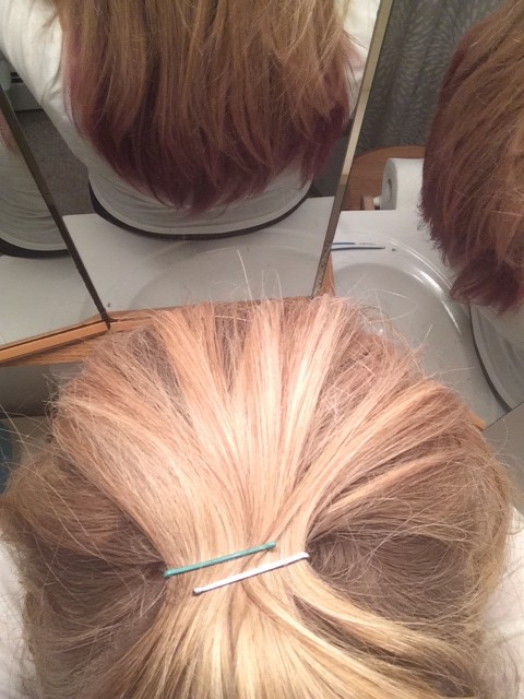 DIY Colored Bobby Pins for Holiday Up-Do's - In Hair