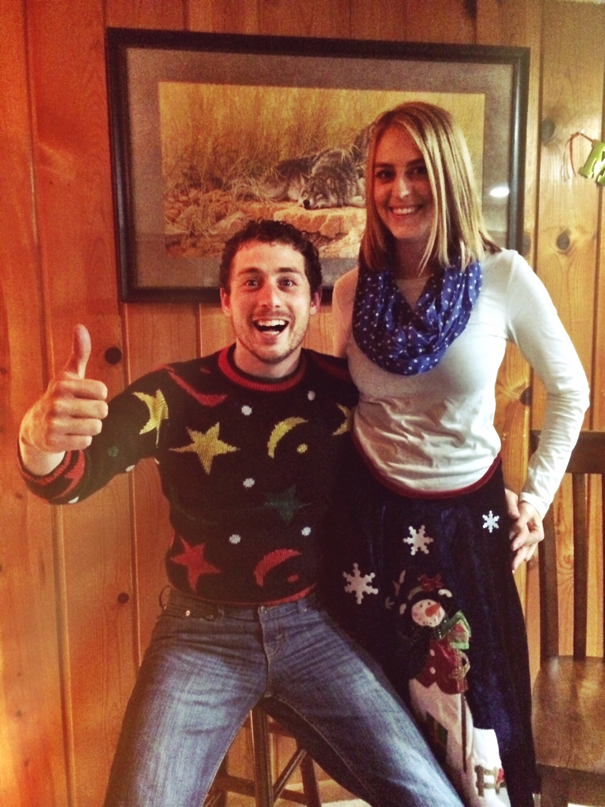 DIY Ugly Sweater Skirt - Mon and Jon at party