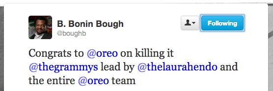 B Bough Tweet Congratulating Oreo on the #sendmeoreo campaign