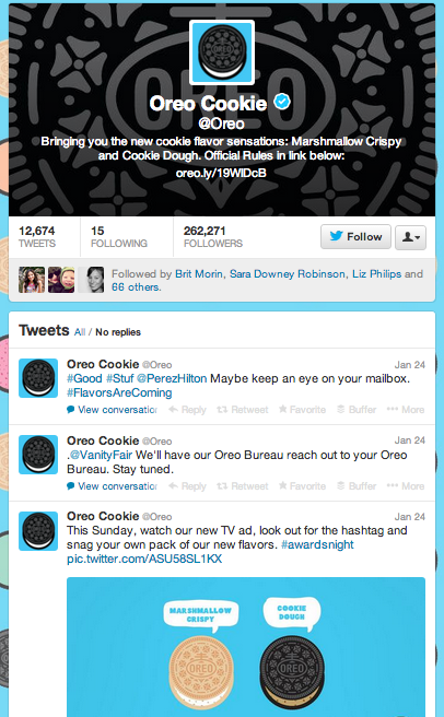 Oreo's Twitter Page before #sendmeoreo commercial