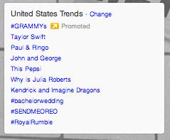 Twitter Trending Topics at 8:30 EST on Sunday, January 26 #sendmeoreo