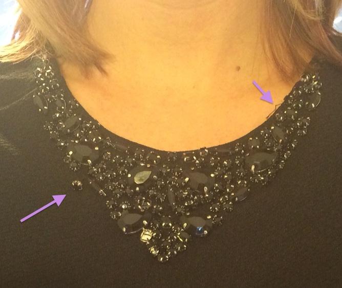 Stitch Fix 41Hawthorn Mickey Jeweled Collar Peplum Top Beading