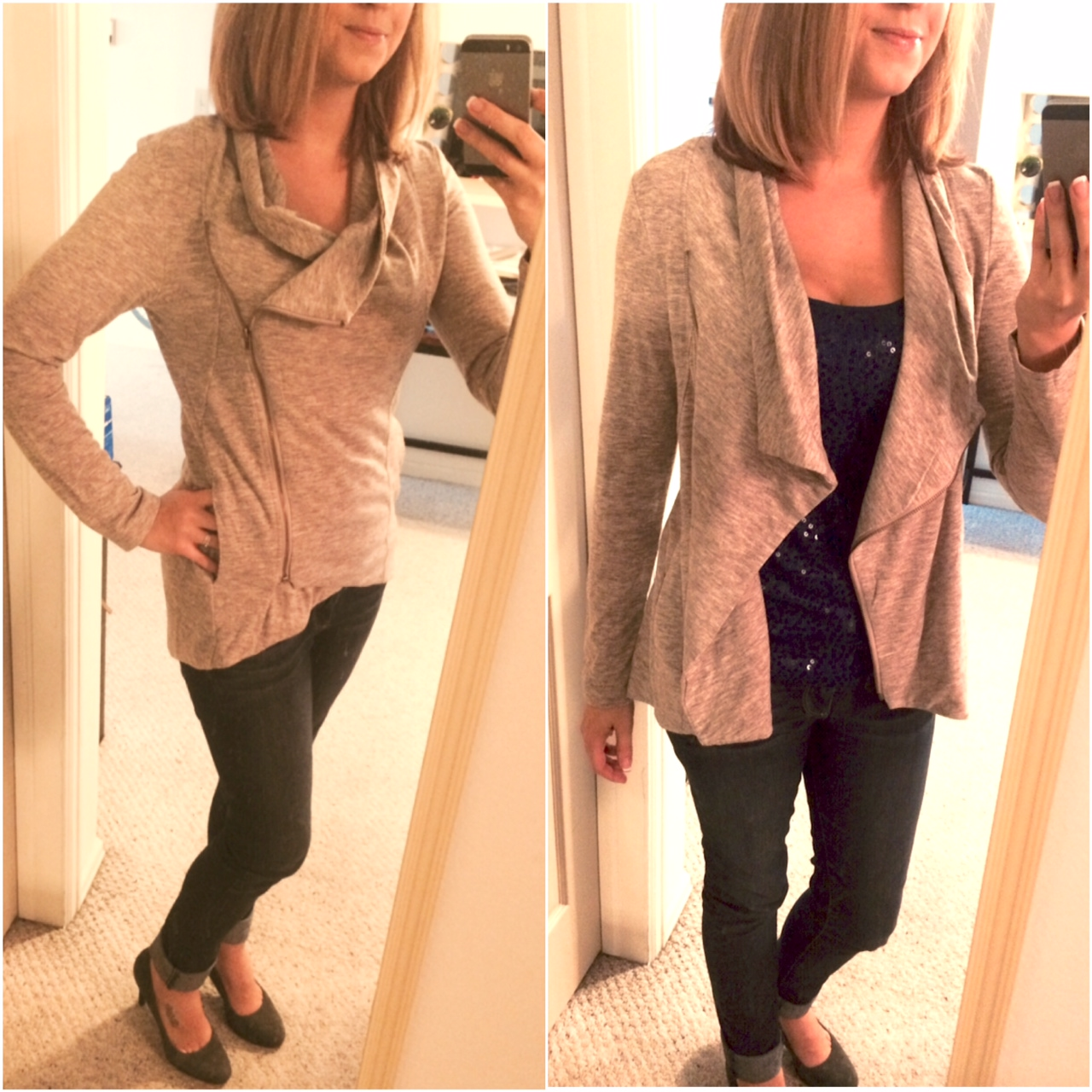 Sweet Rain - Alan Cowl Neck Asymmetrical Jacket - Stitch Fix - Zipped and Unzipped