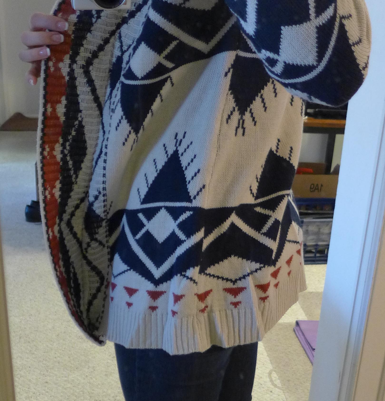 Fate Garvey Tribal Print Open Front Cardigan - Monika wearing detailed side view - Stitch Fix