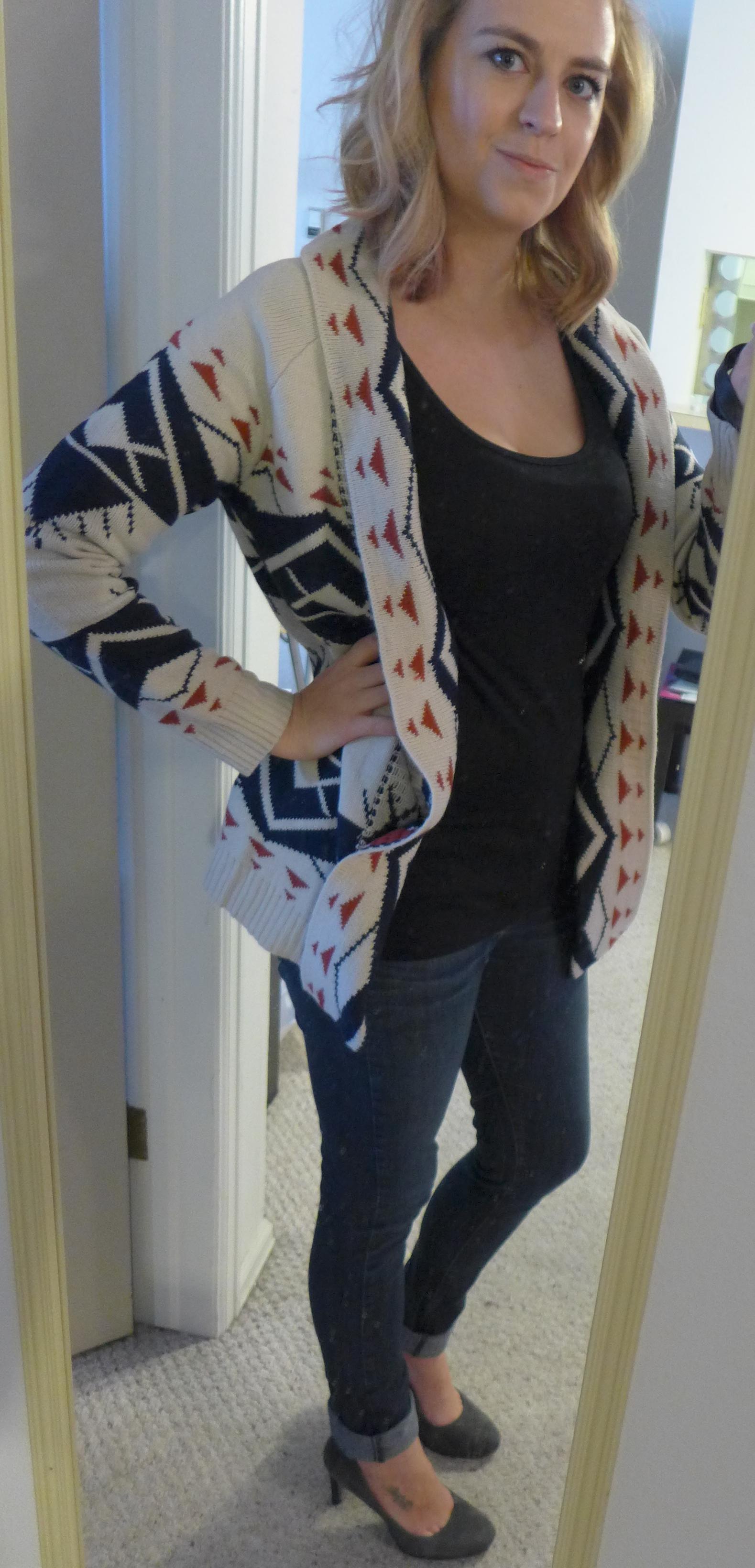 Fate Garvey Tribal Print Open Front Cardigan - Monika wearing front view - Stitch Fix