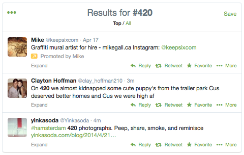 #420 search results on Twitter