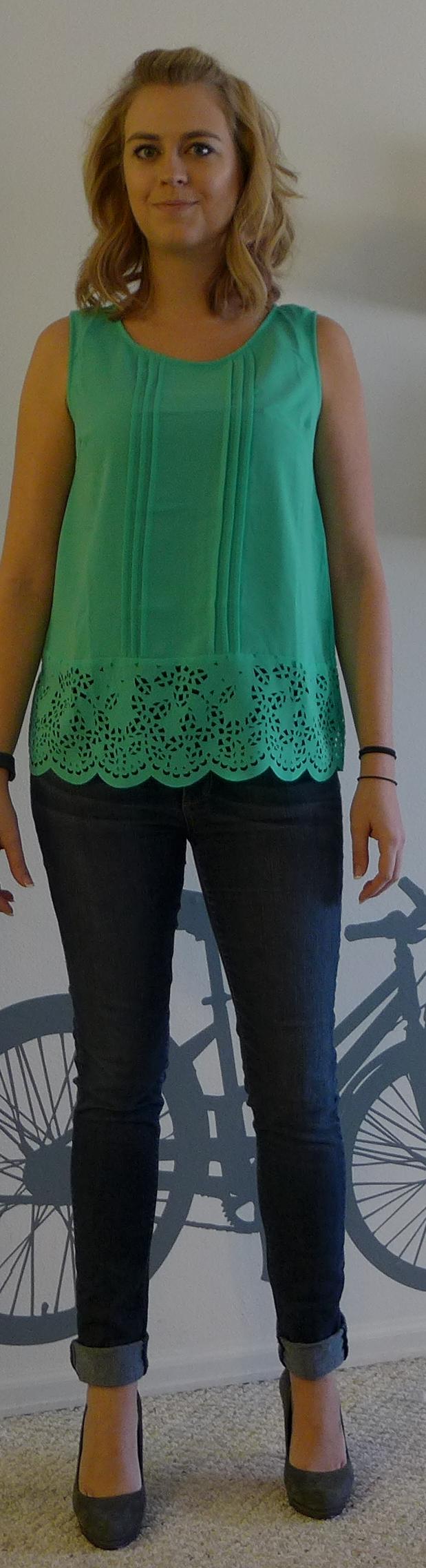 Stitch Fix Under Skies Abbie Pintuck Button-Back Blouse - Monika wearing Front - Stitch Fix