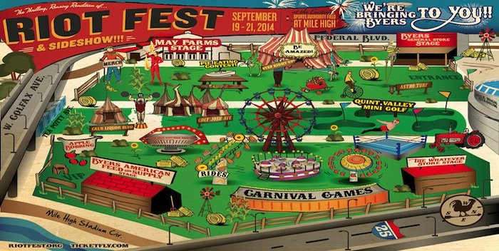 Map of Riot Fest in Denver at Mile High Stadium