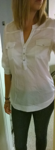 Stitch Fix 41Hawthorn Filber 3:4 Sleeve Popover Blouse Front View