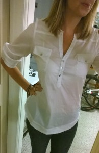 Stitch Fix 41Hawthorn Filber 3:4 Sleeve Popover Blouse Full Front