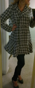 Stitch Fix - Coffeeshop - Iona Houndstooth Coat - Front View Buttoned