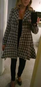Stitch Fix - Coffeeshop - Iona Houndstooth Coat - Unbuttoned