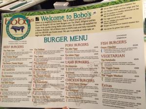 Bobo's menu Ireland