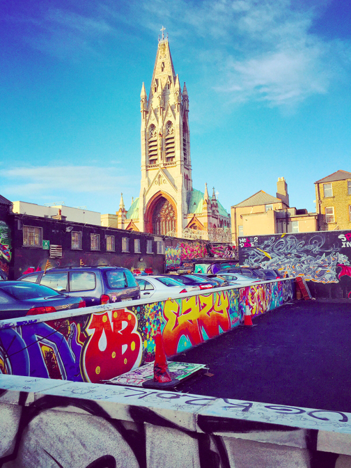 Juxtaposition of Graffiti and Church