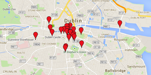 Google Map of our Dublin, Ireland Vacation