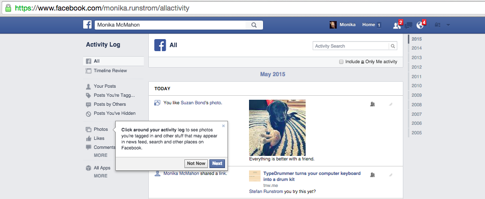 Activity Log for a Facebook Personal Page