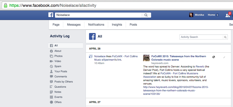 Activity Log for a Facebook Brand Page